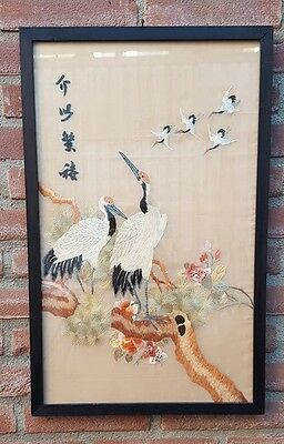 Old Chinese Silk  Painting Birds No 1 Framed And Signed