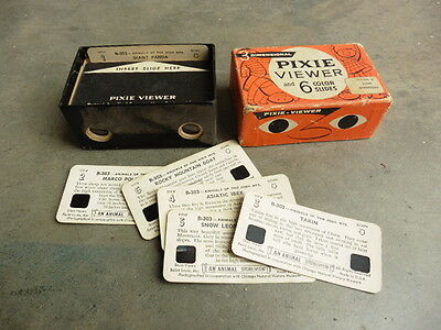 1950s Pixie Viewer 3D Miniature Color Picture Viewer Like View Master w 6 Slides
