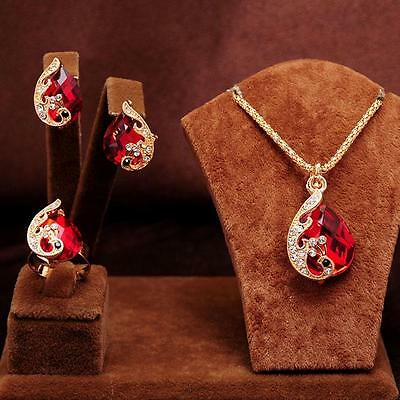 3PCS 14k gold Plated peacock red crystal Necklace Earring Ring Jewelry Set gift