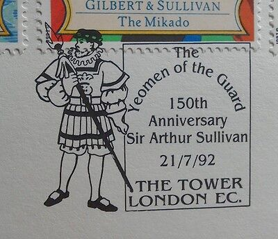 1992 Royal Mail Fdc - Great Handstamp - Gilbert & Sullivan - The Tower London