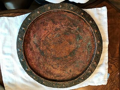 Old Vintage Arts & Crafts Large Hand Hammered Copper Tray