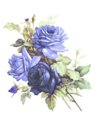 Vintage Image Victorian Shabby Blue Delft Roses Furniture Transfers Decals FL494