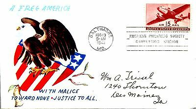 1941  Air Mail 15 Cent Plane Patriotic Cachet  Hand Addressed Fdc