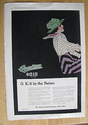 1234 Original Print Ad: Overland Car Coles Phillips Lady Driving Car 1916 (2 pgs