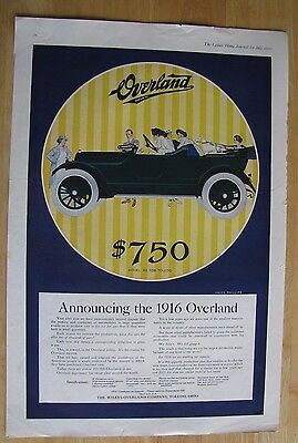 1233 Original Print Ad: Overland Car Coles Phillips Family out for Drive 1915