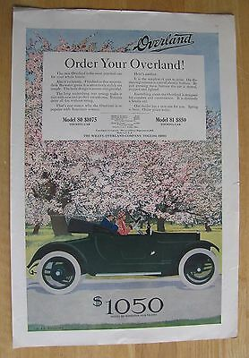 1232 Original Print Ad: Overland Car Coles Phillips Couple Enjoy Spring 1915