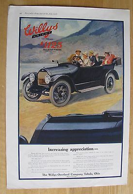 1231 Original Print Ad: Willys Knight Roadster Coles Phillips 1916