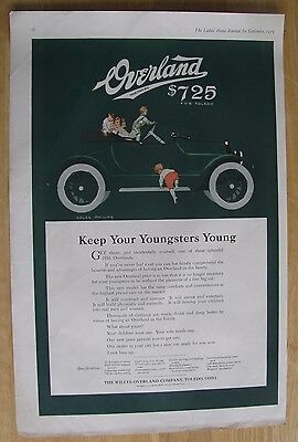 1229 Original Print Ad: Children in Overland Roadster Coles Phillips 1915 (2 pgs