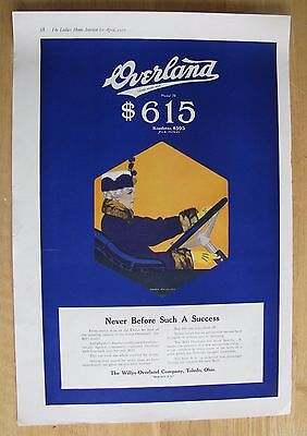 "1224 Original Print Ad: Overland Car ""Never Before"" Coles Phillips 1916 (2 pages"