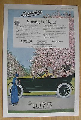 1195 Original Print Ad: Overland Car Photographer in Spring Coles Phillips 1915