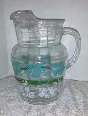Vintage Swanky Swig Ice Lip Pitcher Turquoise & White Flowers 1950's