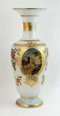 ANTIQUE OPALINE GLASS VASE c1875 Hand Painted