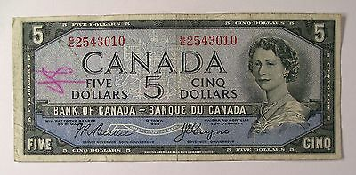 1954 Bank of Canada $5 DEVIL's HAIRDO P-68b SEE teller mark banknote