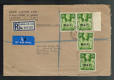 1966 England MEF Overprint Cover to  USA