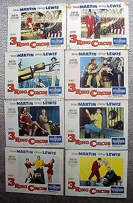3 RING CIRCUS Original JERRY LEWIS Dean Martin LOBBY CARD Photo Set of 8 THREE