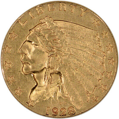 US Gold $2.50 Indian Head Quarter Eagle - Almost Uncirculated - Random Date