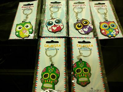 Job Lot 6 X Key Ring Owl And Skull Party Bag Filler New Free Postage