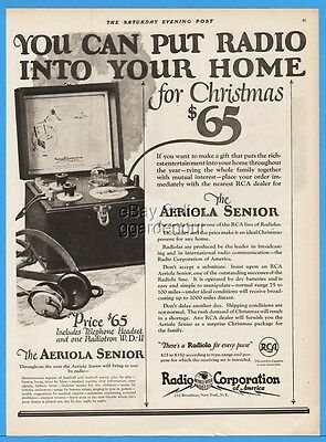 1922 RCA Aeriola Senior Radiola Antique Headset Radio In Your Home Christmas Ad
