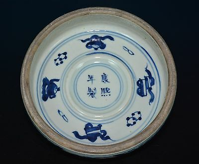 Fine Chinese Blue And White Porcelain Brush Washer Marked Kangxi Rare S9012
