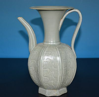 Fine Chinese Monochrome Porcelain Pot Well Carved Rare S7971