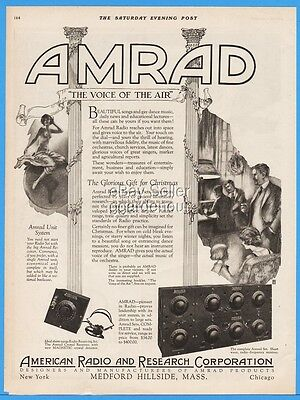 1922 Amrad Radio Medford Hillside MA Voice Of The Air Christmas Gift Print Ad