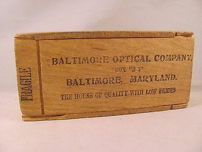 Antique Eyeglasses Spectacles Wooden slide Lid Box Case Baltimore Optical Co MD