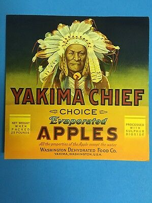 """yakima Chief"" 1940 Original Washington Apple Fruit Crate Label"