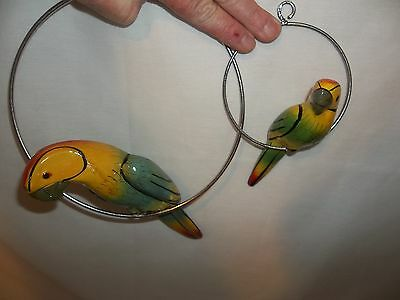 2 Vintage Mother & Baby Swinging Parrots Decorations Hanging Patio
