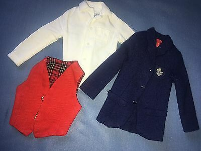 1964 Barbie Ken Victory Dance #1411 Navy Blue Blazer White Shirt Red Vest Jacket