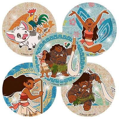 "20 Moana Glitter Stickers, Assorted, 2.5""x2.5"" each"