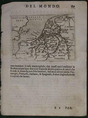 Netherlands Belgium 1598 Ortelius Marchetti Unusual Antique Map Italian Edition