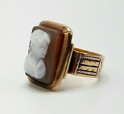 Antique 19Th Century Victorian 14K Rose Gold Agate Portrait Cameo Child's Ring