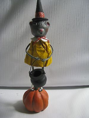 Lori Mitchell Halloween Witch Figure BUBBLE AND SQUEAK witch Mouse on Pumpkin