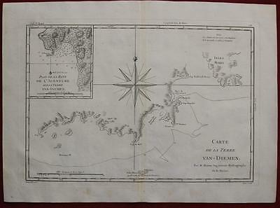 Tasmania Australia 1788 Rigobert Bonne Antique Original Copper Engraved Map