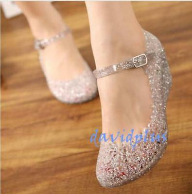 Womens Sandals High Heels shoes Girls Wedge Glass Jelly Shoes Slipper Summer us7