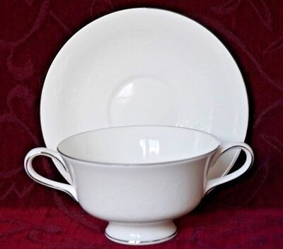 Wedgwood Soup Coupe & Saucer - Silver Ermine