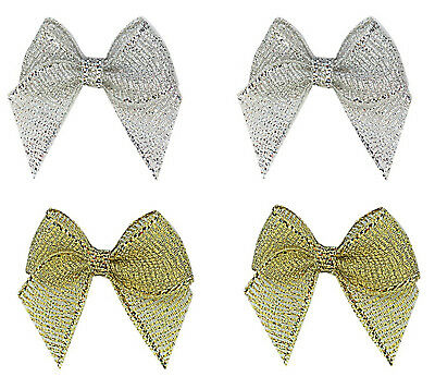 "NEW 33mm 1.2"" Bows Gold Silver Glitter 12mm Metallic Ribbon Eco Quality Craft"