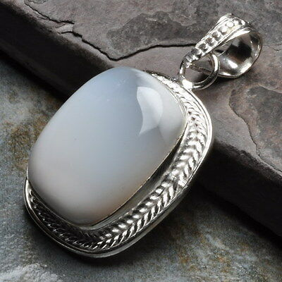 """Natural Dendritic Agate Gemstone 925 Sterling Silver Plated Pendant 1 1/2"""""""