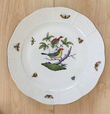 "Vintage HEREND Rothschild Bird 10"" Dinner plate #524 Osier 150th Anniversary"