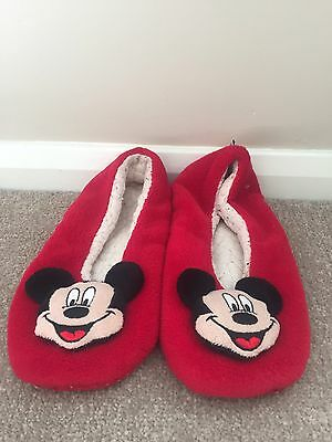 Ladies Red Minnie Mouse Slippers Size 6-7 By Disney