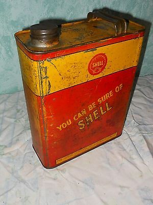 Shell can oil tin old petrol early  one gallon