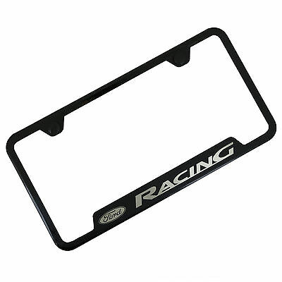 Ford Racing Black Notched Stainless Steel License Plate Frame