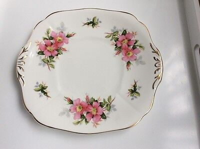 Vintage China Cake Sandwich Plate Royal Adderley Prairie Rose