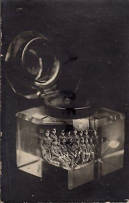 WW1 Soldier group Royal Engineers RE Railway Troops trick photo with ink well