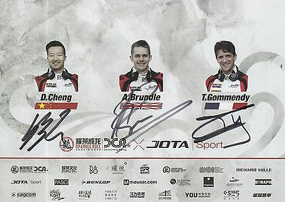 Cheng, Brundle, Gommendy Hand Signed Jackie Chan Le Mans 2017 Promo Card.