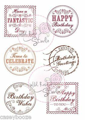 Wild Rose Studio - Clear Rubber Stamps - Birthday Greetings - 379 - New In