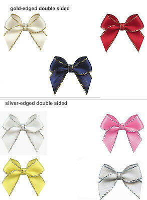"50pcs 30mm 1.2"" Bows Gold Silver Edged 9mm Double Faced Satin Ribbon Eco Quality"