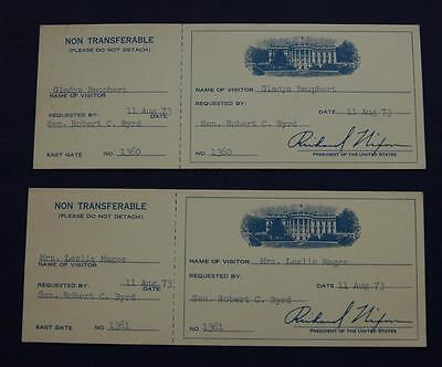 Rare Vintage 1973 Visitor Guest Pass Unused White House Tickets Richard Nixon