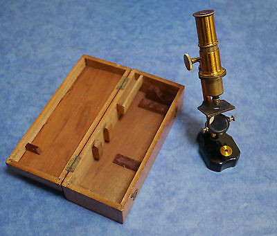 Vintage Brass Microscope in Wooden Box - 3 Section Objective - Good condition