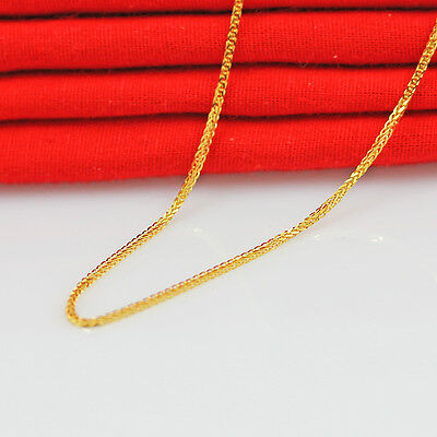 Pure Solid 18K Yellow Gold Necklace/ Lucky Women Wheat Link Chain Necklace